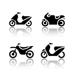 Set of transport icons - motorcycles vector