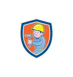 Carpenter builder hammer shield cartoon vector