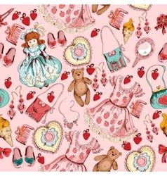 Little girl accessories seamless pattern vector