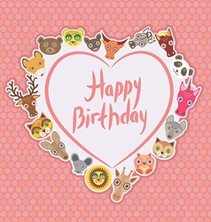 Funny animals happy birthday white heart on pink vector