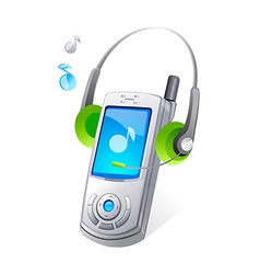 Icon mobile phone and headphone vector