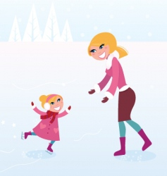 Ice skating mother and child vector