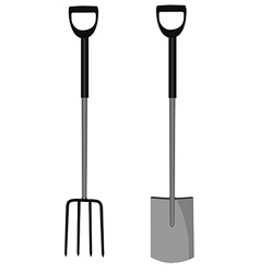 Garden fork and shovel vector