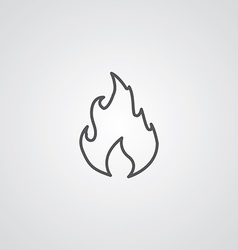 Fire outline symbol dark on white background logo vector