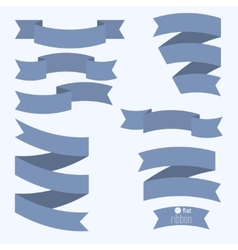 Set of blue ribbons for different designs and vector