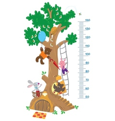 Meter wall with big tree and funny animals vector