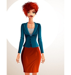 Beautiful coquette business lady full body vector