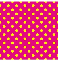 Tile pattern yellow polka dots pink background vector