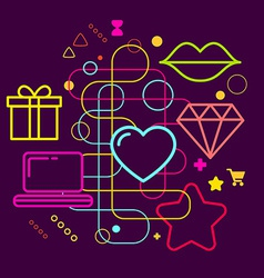 Symbols of choosing a gift via the internet on vector