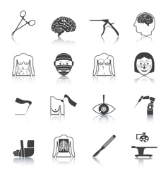 Surgery icons black vector