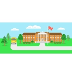 School building and yard flat landscape vector