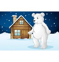 Cabin and polar bear vector