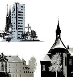 Set of few buildings - cityscapes vector