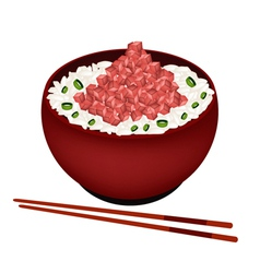 Bowl of boiled rice topping with chopped maguro vector
