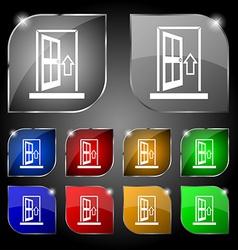 Door enter or exit icon sign set of ten colorful vector