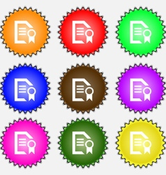 Award file document icon sign a set of nine vector