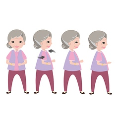 Exercising old woman vector