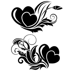 Black floral design element vector