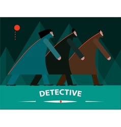 Detectives investigating at night vector