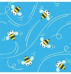 Seamless pattern with funny bees vector