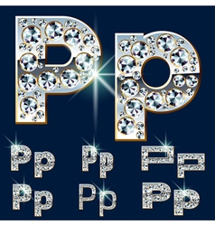 Ultimate alphabet of diamonds and platinum ingot vector