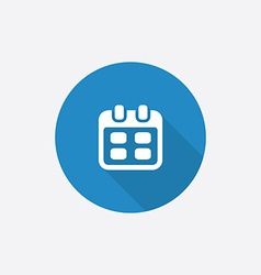 Calendar flat blue simple icon with long shadow vector