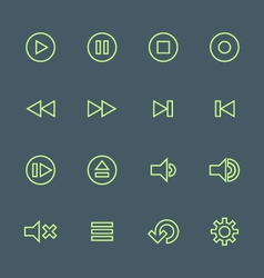 Green outline various media player icons set vector
