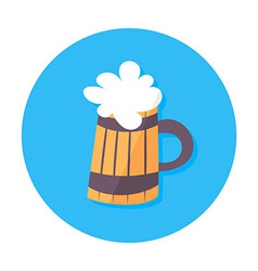 Beer mug flat stylized circle icon vector