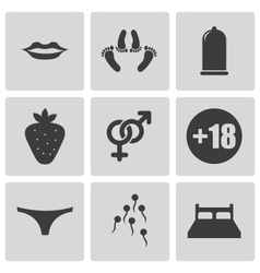 Black sex icons set vector