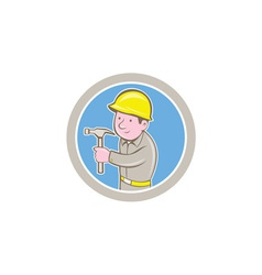 Carpenter builder hammer circle cartoon vector