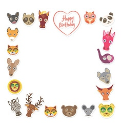 Funny animals happy birthday pink heart on white vector