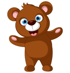 Baby brown bear cartoon posing vector