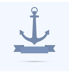 Anchor with banner in the form of a flat tape vector
