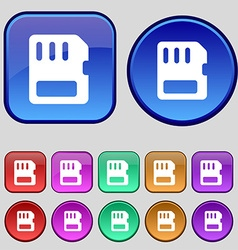 Compact memory card icon sign a set of twelve vector