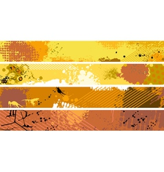 Grunge orange banner set vector
