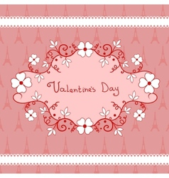 Romantic vignette with flowers valentines day vector