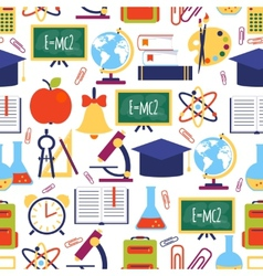 Seamless pattern with colorful school icons vector