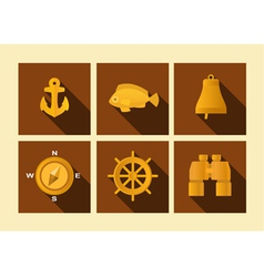 Set of icons of sea subject in flat style vector