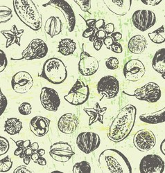 Ink hand drawn fruits and vegetables seamless patt vector