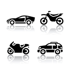 Set of transport icons - sports transportation vector