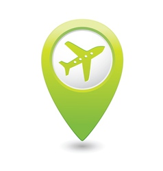 Plane icon on map pointer green vector