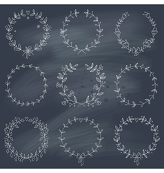 Set of 9 hand drawn wreaths on blackboard vector