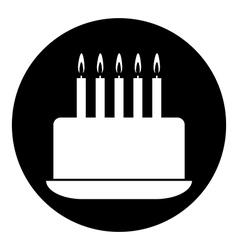 Birthday cake symbol button vector