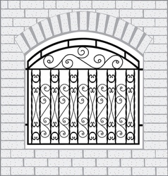 Iron fence black with white bricks vector