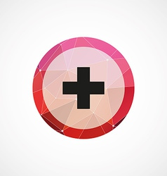 Plus circle pink triangle background icon vector