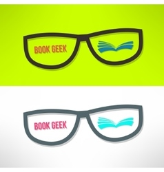 Book geek idea with glasses and book vector