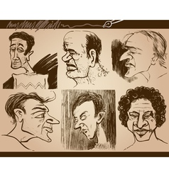 People faces caricature drawings set vector