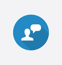 Conversation flat blue simple icon with long vector