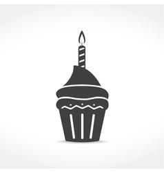 Birthday cupcake icon vector