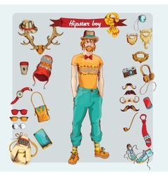 Hipster boy set vector